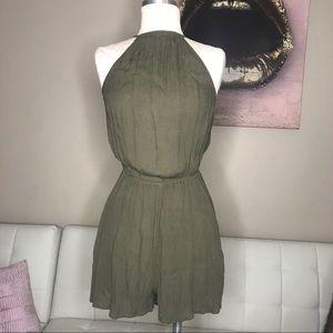 Khaki green backless Playsuit